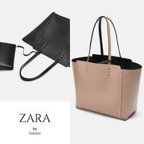 ZARA Casual Style Faux Fur Studded Bag in Bag A4 Plain Totes
