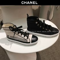 CHANEL Platform Plain Toe Lace-up Casual Style Plain