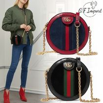 GUCCI Ophidia Casual Style Bi-color Chain Leather Shoulder Bags