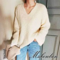 V-Neck Long Sleeves Plain Angola Elegant Style Knitwear