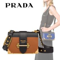 PRADA CAHIER Plain Leather Elegant Style Shoulder Bags