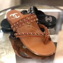 CHANEL Casual Style Chain Plain Sandals
