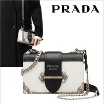 PRADA CAHIER Chain Plain Leather Elegant Style Shoulder Bags