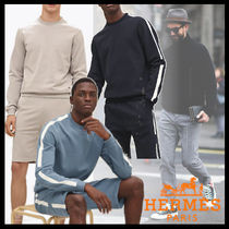 HERMES Crew Neck Street Style Long Sleeves Plain Cotton Sweatshirts
