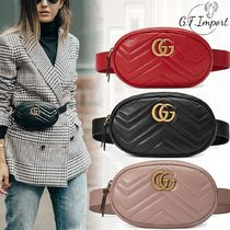 GUCCI GG Marmont Casual Style Bi-color Leather Shoulder Bags