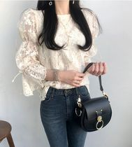 Lace Elegant Style Puff Sleeves Shirts & Blouses