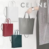 CELINE Cabas Casual Style Unisex Calfskin 2WAY Plain Totes