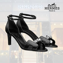 HERMES Open Toe Blended Fabrics Studded Plain Leather Pin Heels