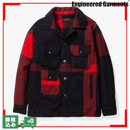 Other Check Patterns Unisex Wool Street Style Jackets