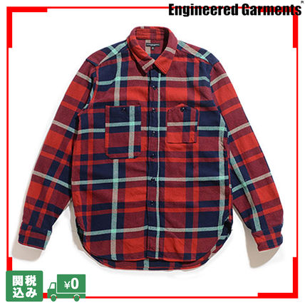 Other Plaid Patterns Unisex Street Style Long Sleeves Cotton