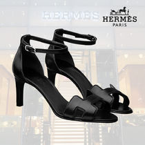 HERMES Open Toe Blended Fabrics Plain Leather Pin Heels