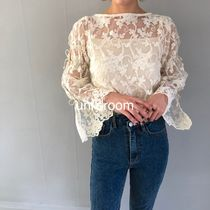 Flower Patterns Lace-up Blended Fabrics Cropped Medium Lace