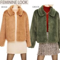 Studded Medium Fur Leather Jackets Cashmere & Fur Coats