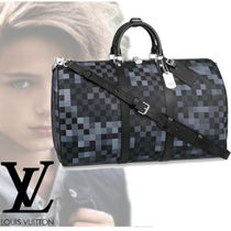 Louis Vuitton Other Check Patterns Blended Fabrics A4 Leather Boston Bags