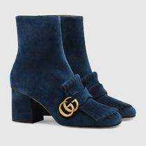 GUCCI Suede Chunky Heels Ankle & Booties Boots