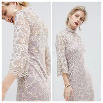 ASOS Flower Patterns Tight Cropped Medium High-Neck Lace