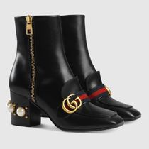 GUCCI Leather Chunky Heels Ankle & Booties Boots