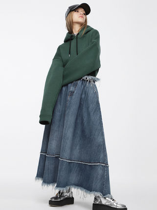 Flared Skirts Casual Style Denim Street Style Plain Long