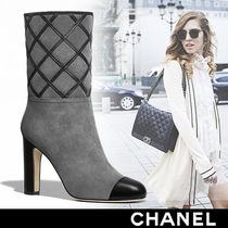 CHANEL Suede High Heel Boots