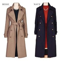 Casual Style Studded Street Style Long Duffle Coats