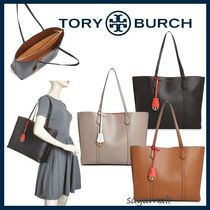 Tory Burch Bi-color Plain Leather Elegant Style Totes