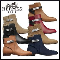 HERMES Plain Leather Elegant Style Ankle & Booties Boots