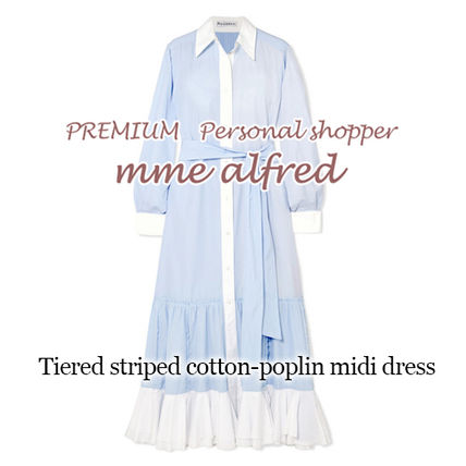 Stripes Casual Style Flared Long Sleeves Cotton Long Dresses