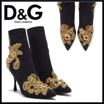Dolce & Gabbana Plain Pin Heels Elegant Style Ankle & Booties Boots