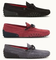 TOD'S Driving Shoes Unisex Suede Studded Bi-color Plain U Tips