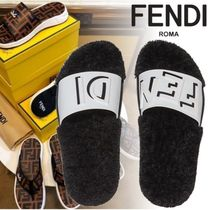 FENDI Unisex Sheepskin Blended Fabrics Street Style Shower Shoes