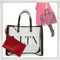 VALENTINO Blended Fabrics Studded Crystal Clear Bags PVC Clothing