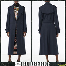 Burberry Plain Leather Long Elegant Style Trench Coats