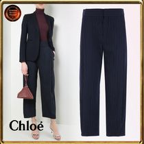 Chloe Stripes Casual Style Wool Cropped & Capris Pants