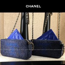 CHANEL DEAUVILLE Canvas 2WAY Chain Plain Elegant Style Crossbody