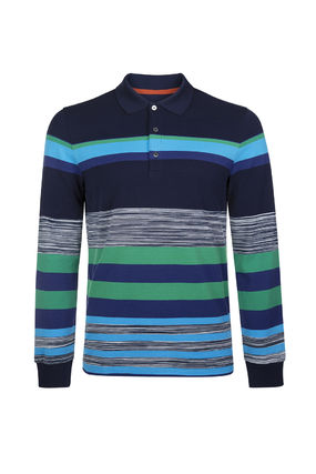 Stripes Long Sleeves Cotton Polos