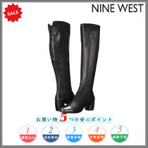 a1d24669f87 Nine West Casual Style Plain Leather Block Heels Over-the-Knee Boots