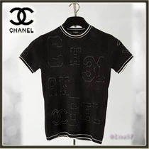 CHANEL Short Silk Short Sleeves Elegant Style Cropped