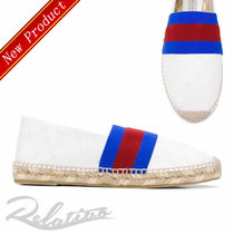 Stella McCartney Stripes Monogram Round Toe Casual Style Faux Fur Flats