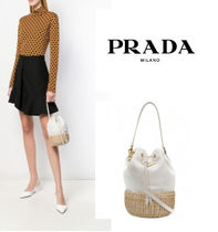 PRADA Canvas 2WAY Plain Straw Bags