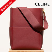 CELINE Sangle Unisex Calfskin Blended Fabrics A4 2WAY Plain Bold Totes