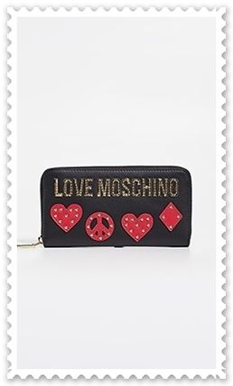Heart Studded Leather Long Wallet  Logo Long Wallets