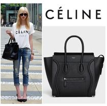 CELINE Luggage Plain Leather Elegant Style Totes
