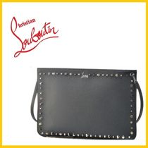 Christian Louboutin Studded Street Style 2WAY Plain Leather Clutches