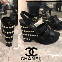 CHANEL Open Toe Chunky Heels Sandals