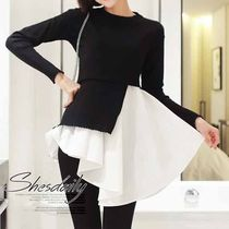 Casual Style Long Sleeves Plain Cotton Medium Sweaters