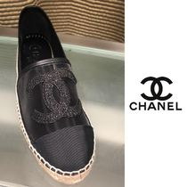 CHANEL Platform Round Toe Plain Lace-Up Shoes