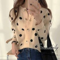 Dots Casual Style Long Sleeves Medium Cardigans