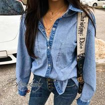 Casual Style Denim Plain Medium Oversized Shirts & Blouses
