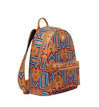 MCM Stripes Unisex Canvas A4 Khaki Backpacks