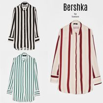 Bershka Stripes Casual Style Long Sleeves Medium Oversized